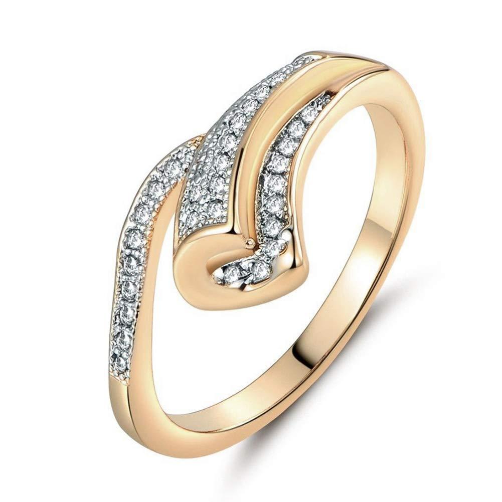 Slendima Fashion Rhinestone Inlaid Ring Women Party Wedding Proposal Jewelry Slim Band Golden US 10