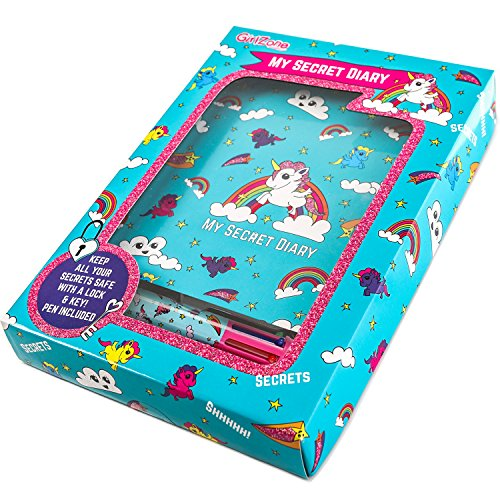Unicorn Secret Lockable Journal Diary & Pen Gift Set - Great Birthday Present Gifts for Girls of All Ages