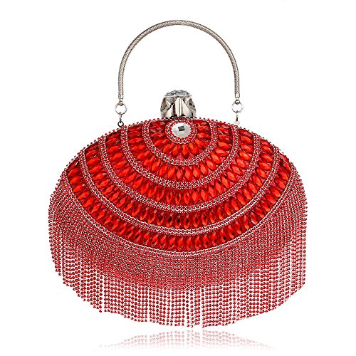 Women's Clutch Women's GROSSARTIG Evening Evening Fringe Bag Red Dress Luxury d00x1F