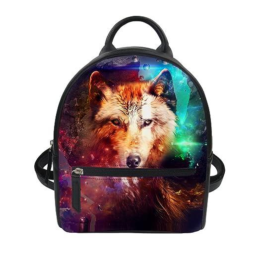dfc1cf35cd88 Instantarts Wolf Animal Print Leather Purse Mini Kids Backpack Girls School