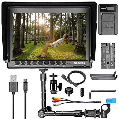 a HD 4K Camera Monitor Charging Kit, 1280x800 IPS Screen Camera Monitor + Magic Arm + USB Battery Charger + Battery for Sony Canon Nikon Olympus Pentax Panasonic ()