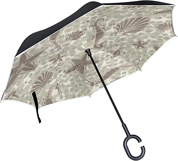 Starfish And Wave Summer Pattern Double Layer Windproof UV Protection Reverse Umbrella With C-Shaped Handle Upside-Down Inverted Umbrella For Car Rain Outdoor