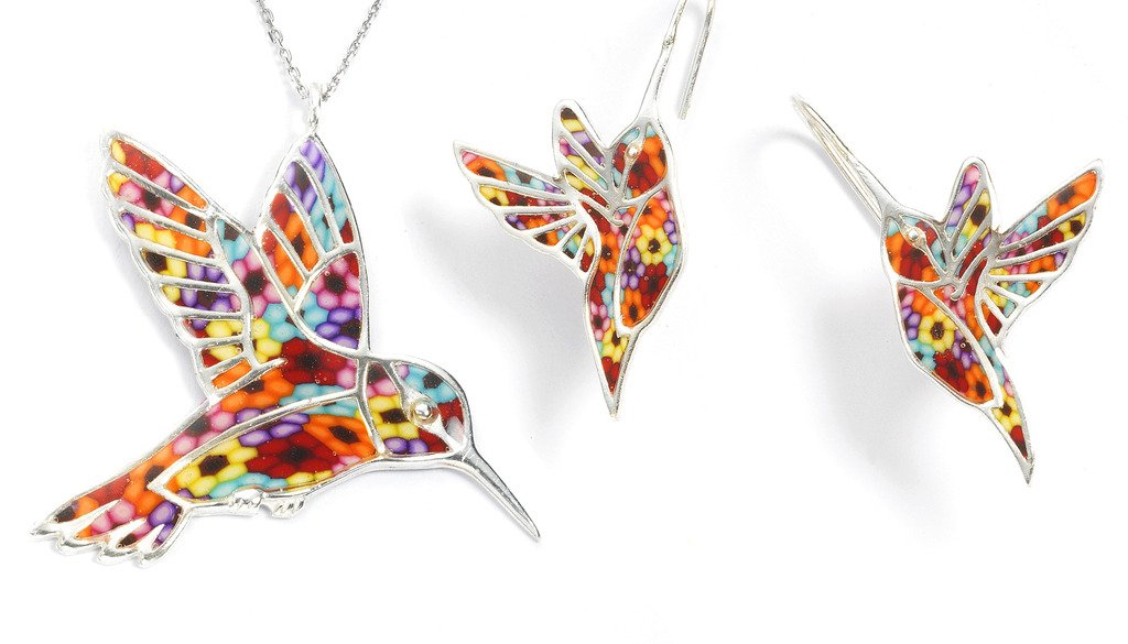 925 Sterling Silver Hummingbird Necklace Pendant and Earrings Multi-Colored Polymer Clay Bird Jewelry Set, 16.5'' Gold Filled Chain