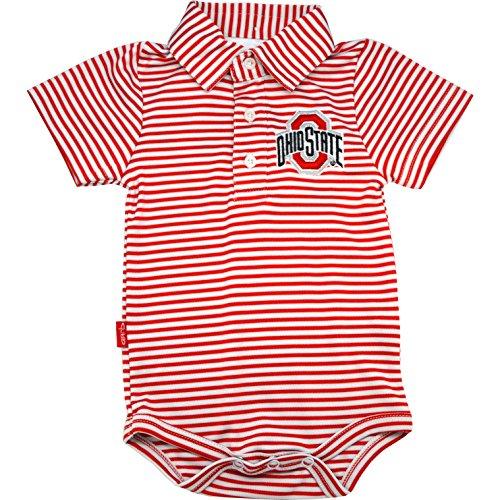 Garb Ohio State Carson Stripe Polo Onsie - 3 Months (Garb Clothing)