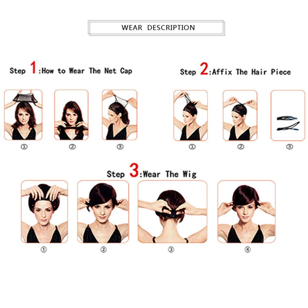Cloudro ❤️ Women Synthetic Hair Wigs Short High Temperature Silk Front Wig Part for Female Wave Curl Black