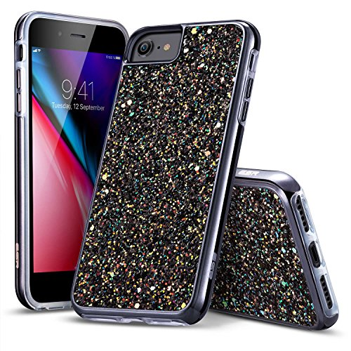 iPhone 8 Case, iPhone 7 Case, ESR Glitter Bling Hard Cover with Dual Layer Structure [Hard PC Back Outer + Soft TPU Inner] for Apple 4.7 iPhone 8 /iPhone 7(Black)