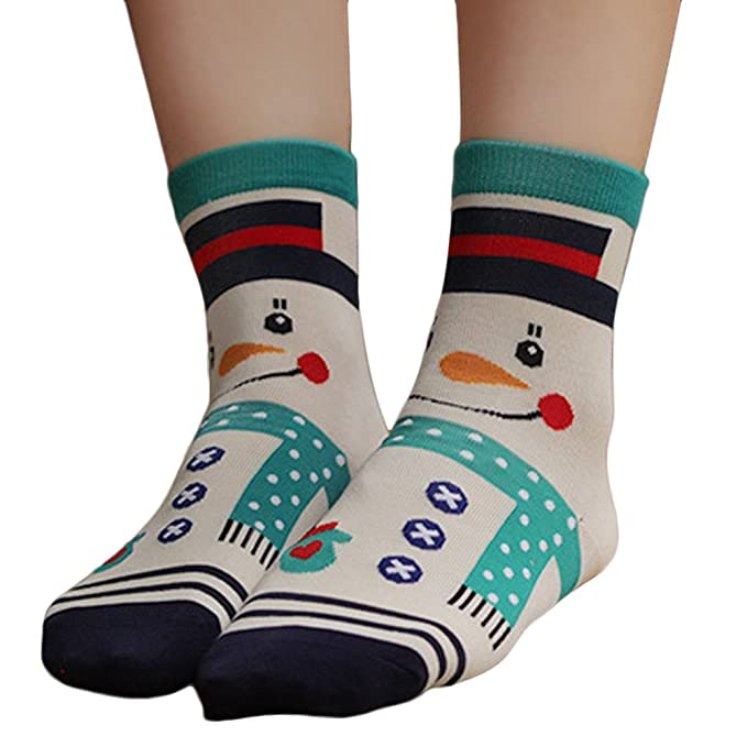 Amazon.com: Women Cute Elk Printed Socks Snowman Bear Sock Warm Thick Ankle Sock Christmas Drfoytg (A): Clothing