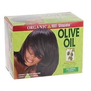 Organic Root Stimulator - Relajante para cabellos, crema de alisado, con aceite de oliva, protección integrada, sin lejía, extrafuerte