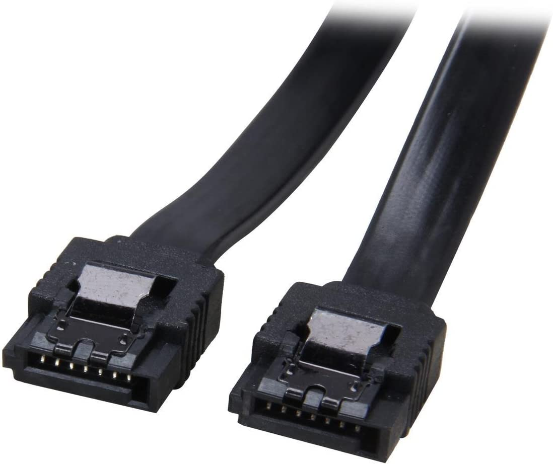 """6/"""" Black SATA III Cable 90 Right Angle to 180 Straight 6GB//Sec HDD SSD Gaming"""