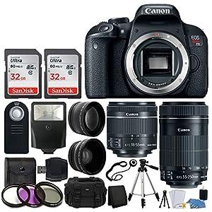 Canon EOS Rebel T7i Digital SLR Camera + EF-S 18-55mm IS STM Lens + EF-S 55-250mm IS STM Lens + Wide Angle Lens & 2x Telephoto Lens + 64GB Memory Card + Flexible Tripod + Complete Accessory Bundle