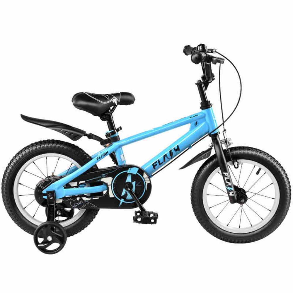 HAIZHEN マウンテンバイク 12インチ、16インチ、95%組み立て、子供用ギフト、男の子用自転車子供用自転車サイクリング 新生児 B07C445N31青 14 inch