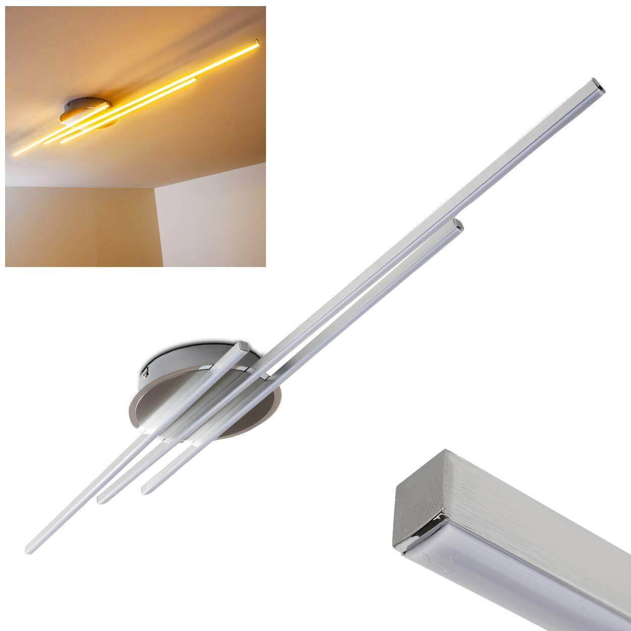 Deckenleuchte LED mit warmweißem Licht im minimalistischen Design - Metallleuchte mit drei weißen, satinierten Lichtleisten - moderne Designer-Lampe 3000 Kelvin - 3 x 620 Lumen