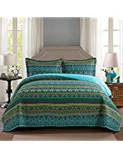 NEWLAKE Cotton Bedspread Quilt Sets-Reversible Patchwork Coverlet Set, Mysterious Bohemian Style, Queen Size