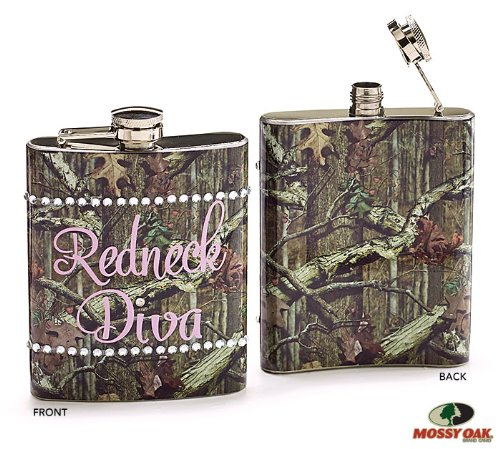 Mossy Oak Pink Camouflage Redneck Diva Flask- Drink Holder 8oz