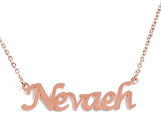 Zacria Nevaeh Name Necklace 18ct Rose Gold Plated