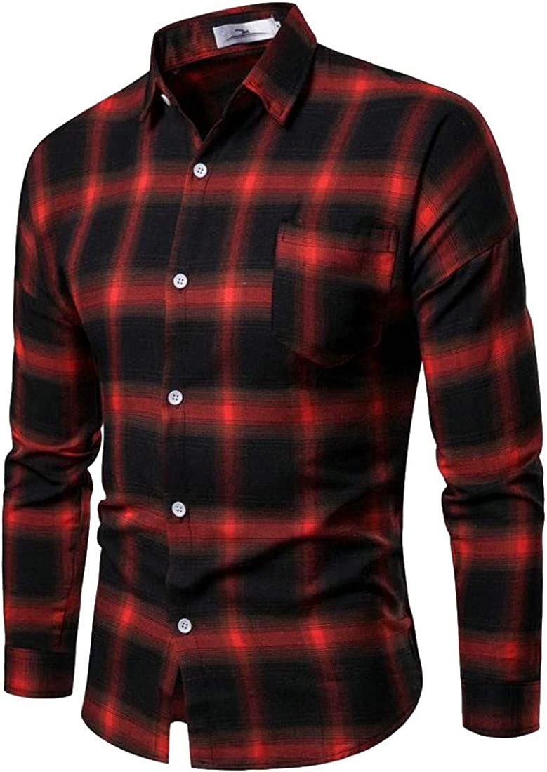 Agana Mens Casual Long Sleeve Plaid Checkered Button Front Cotton Shirts