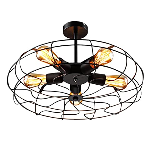 Deckenleuchten Vintage Retro Lampe Decke Ventilator Rund Eisen 5 Flammig  Industrielampe Amerikanischen Stil Industrie Licht