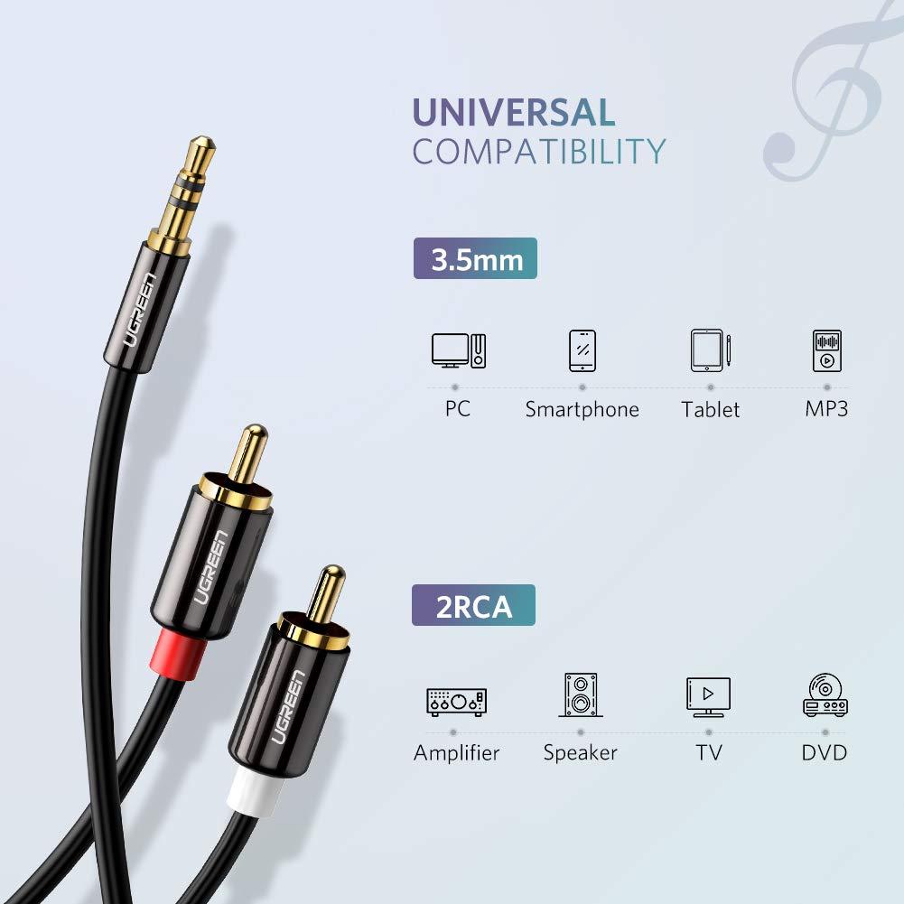 Plauq/és Or 2 M UGREEN C/âble RCA Jack Audio St/ér/éo 3.5mm M/âle vers 2 RCA M/âle Y Compatible avec Amplificateur Autoradio Cha/îne HiFi Barre de Son Home Cin/éma Smartphone
