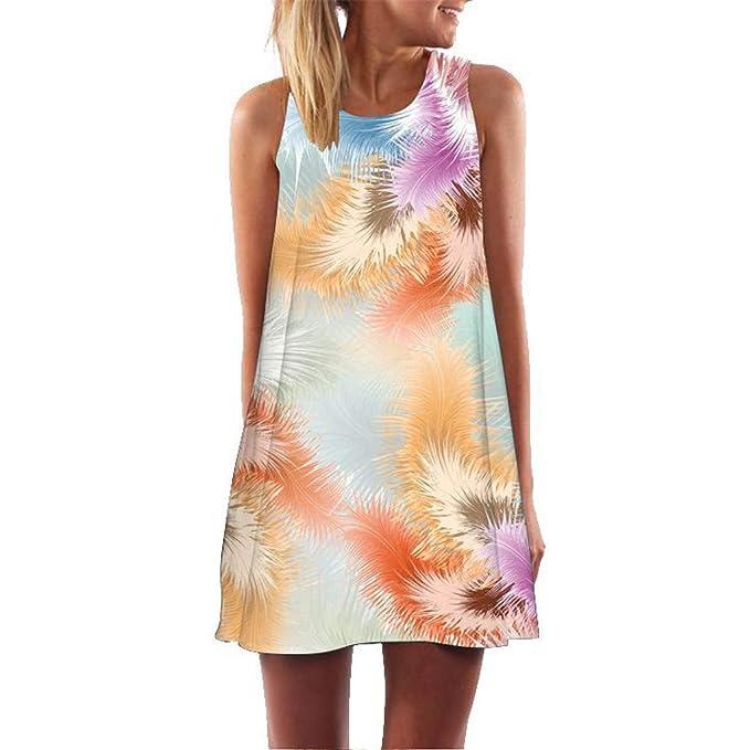 Lutos Womens Floral Printed Tank Dress Strappy Ladies Ruffle Summer Beach Party Mini Dress