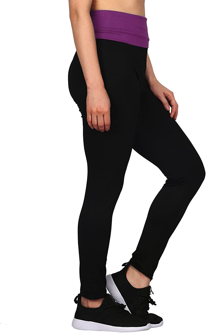 HDE Womens Maternity Yoga Pants Pregnancy Stretch Fold Over Lounge Leggings Black with Purple, Large