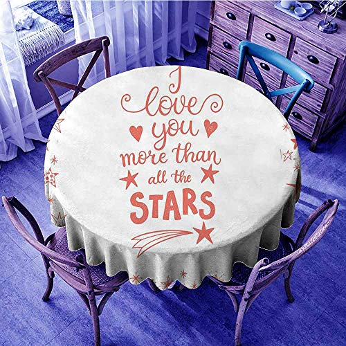 I Love You More Table Cover Quote of Infatuation Surrounded by Stars Scribble Art for Valentines Print Round Tablecloth Vermilion White Diameter 36