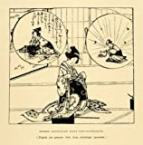 1883 Wood Engraving Woman Seamstress Dreaming