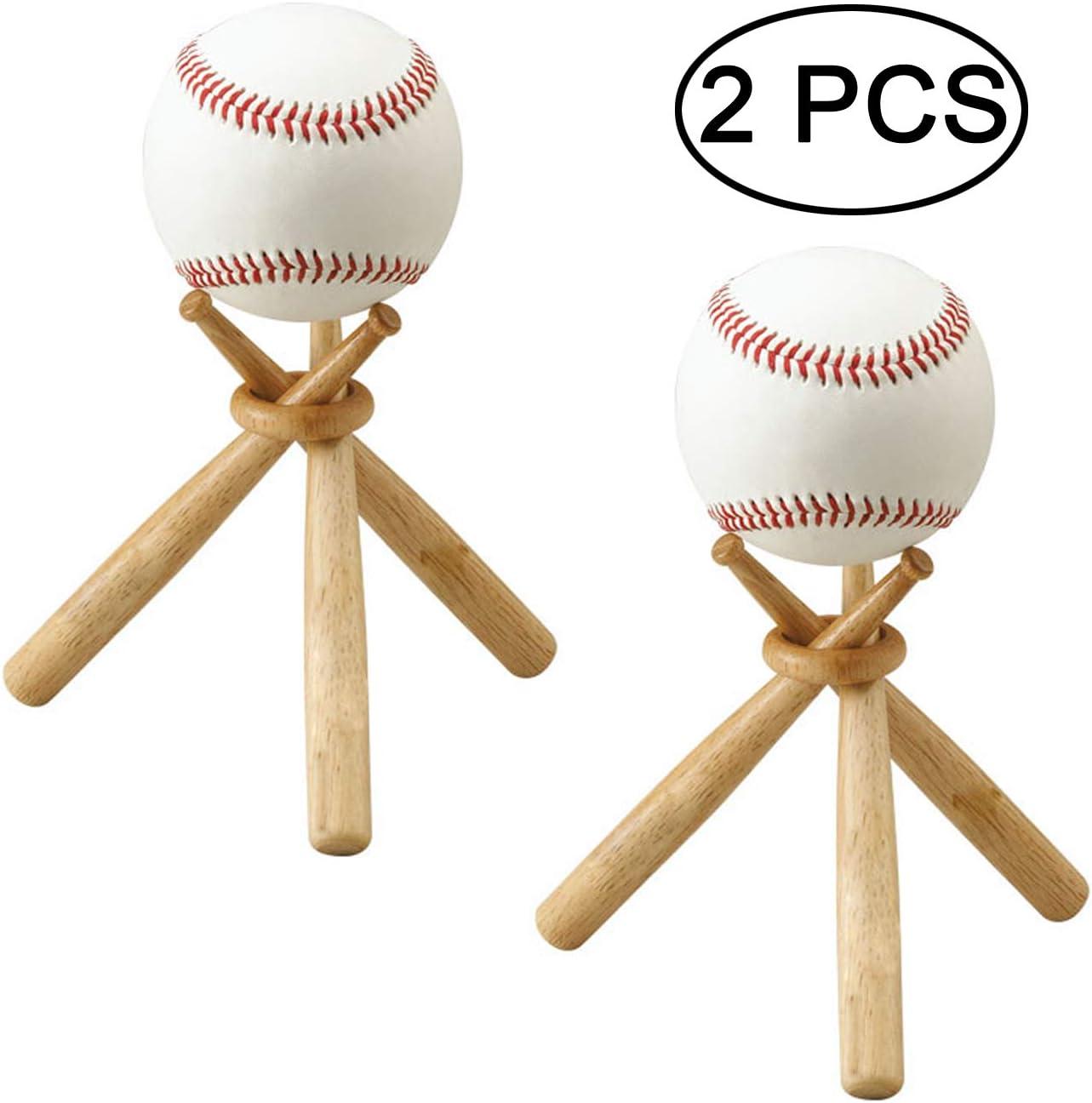 TIHOOD Baseball Stand Baseball Stand Holder Wooden Base Ball Stand Display Holder