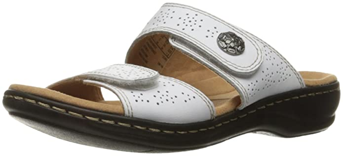 CLARKS Women's Leisa Lacole Slide Sandal, White Leather, 8 M US best women's supportive sandals