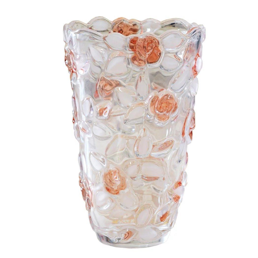 Unusual 花瓶 テーブル フラワーベース おしゃれ 花柄 バラ 花入れ 花びん 花器  ガラスベース 置物 結婚用 プレゼント B01KYVPZSG 黄色 黄色