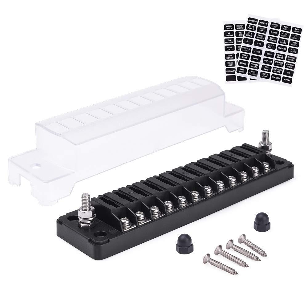 MICTUNING Caja de Bloque de Fusibles de 12 Circuitos para Autom/óviles con Indicador LED Cubierta de Protecci/ón Impermeable SUV. Portafusibles de Cuchillas de 12 V/ías Barcos