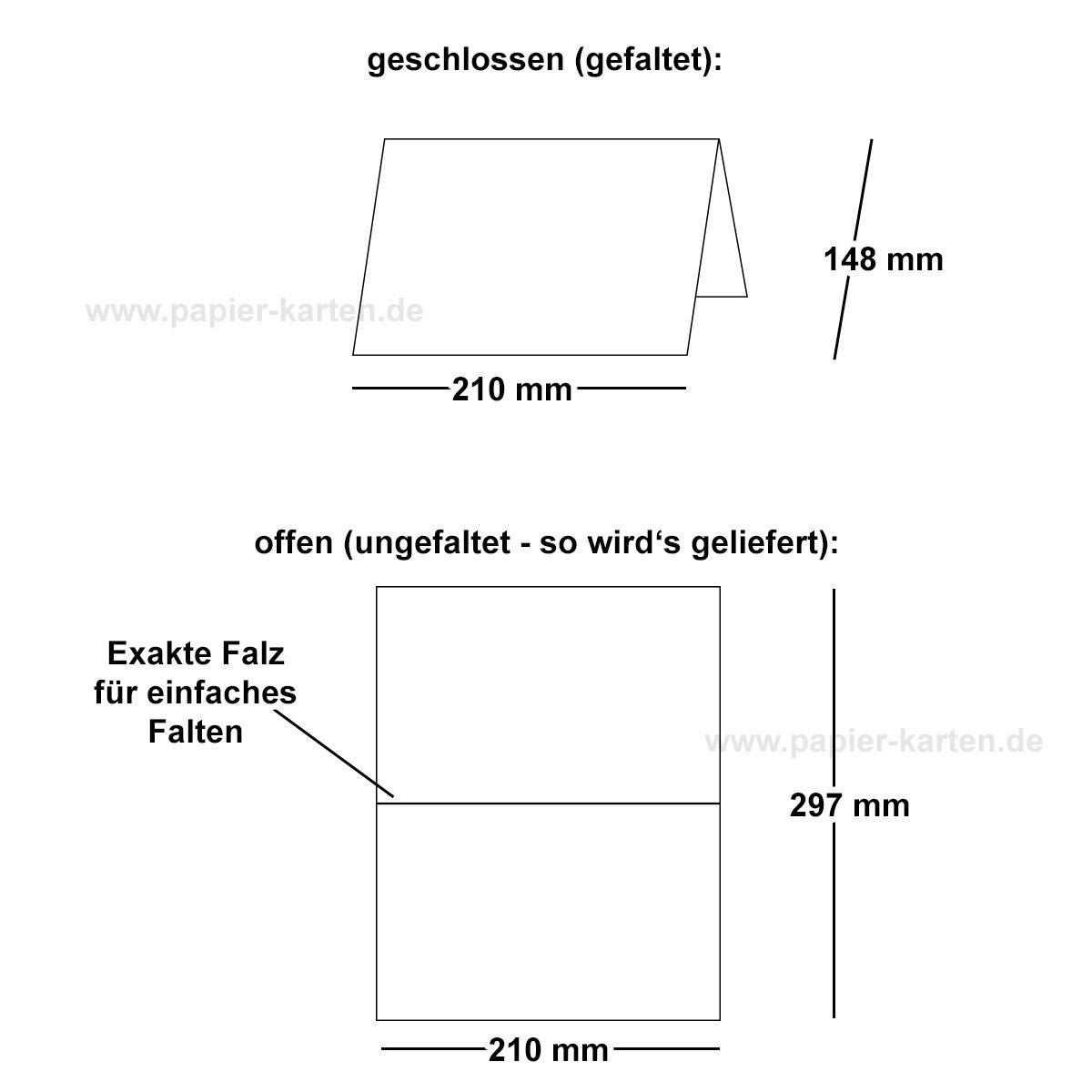 1de98e8dc04a7 100x faltbares Einlege-Papier für DIN A5 Doppelkarten   cremefarben   297 x  210 mm (210 x 148 mm gefaltet)   ideal zum Bedrucken mit Tinte und Laser ...