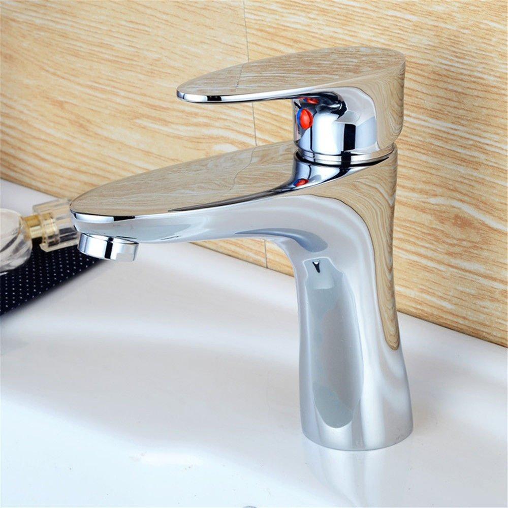 AQiMM Waschbecken Wasserhahn Bad Armatur Messing Einzelne Bohrung Heißes Und Kaltes Wasser  Waschtischarmatur Badezimmer Waschbeckenamatur