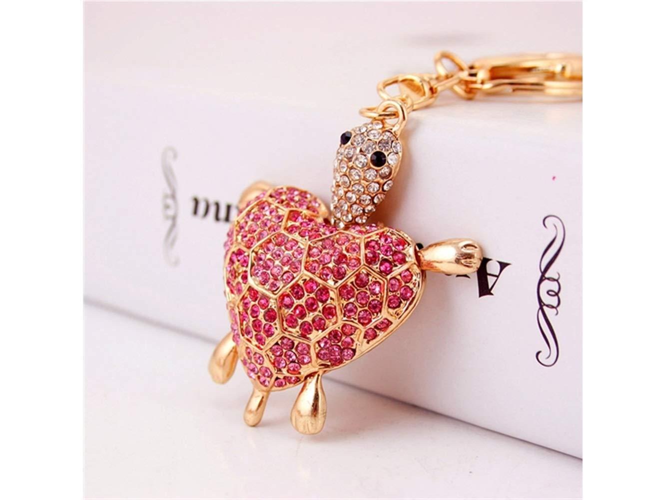 Car Keychain, Cute Diamond Love Back Shell Turtle Keychain Animal Key Trinket Car Bag Key Holder Decorations(Pink) for Gift