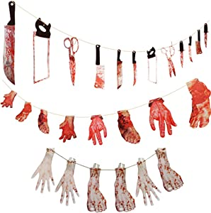 Halloween Banner Outdoors Hanging Decorations Banner 3 Set Halloween Party Decorations Supplies Scary Bloody Weapon, Hands and Feet