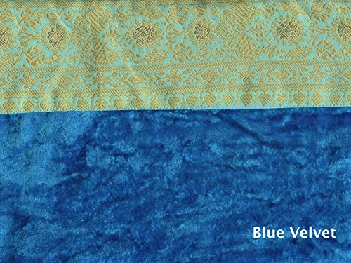 Chair Cushions made from Rich Blue Velvet with and Embroidered Border and filled with Natural Cotton. Hand tufted in Rajasthan, India to hold the filling securely in place. Imported.Chair Padding.