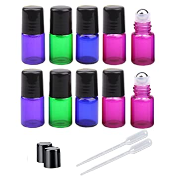 7360128ad686 Amazon.com : 50 Pieces 3ml Assorted Color Glass Roller Bottles Mini ...