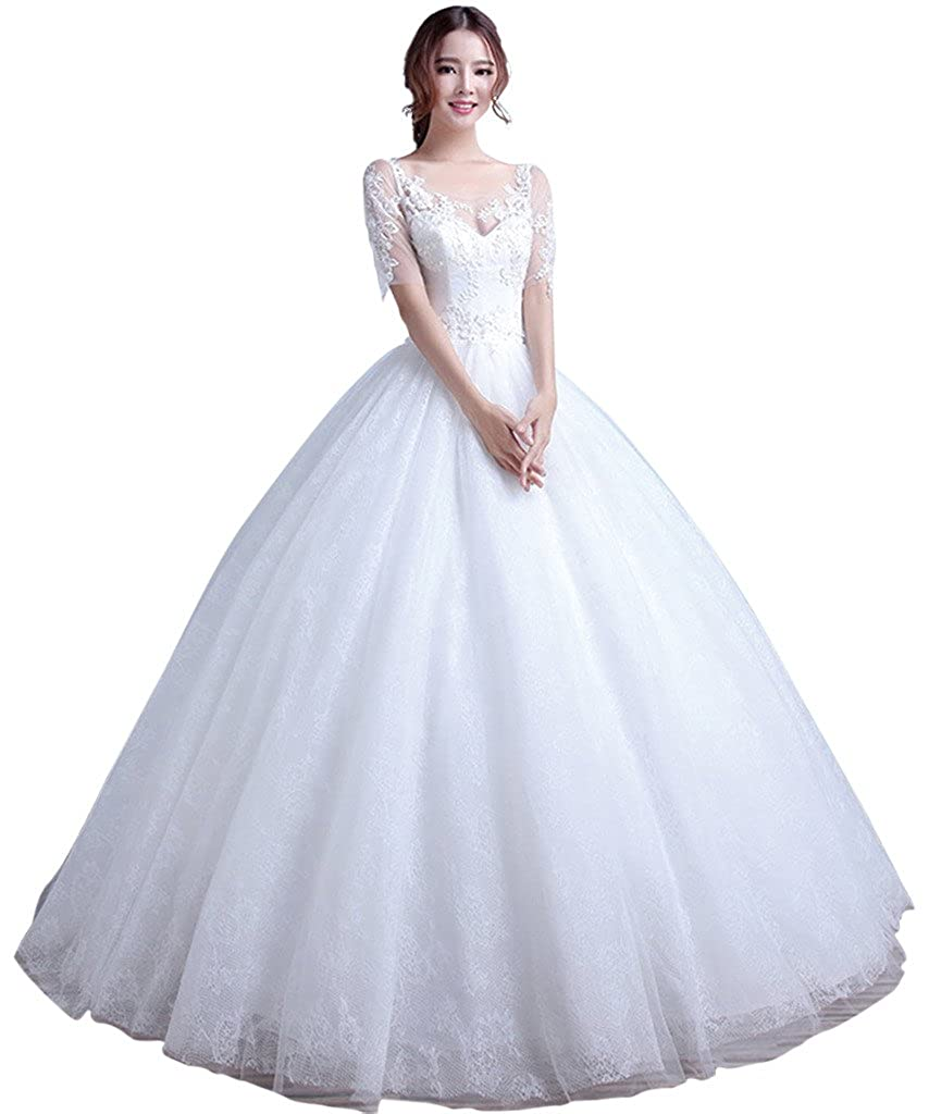 BessWedding Womens Backless Illusion Tulle V neck Ball Gown Wedding Dresses