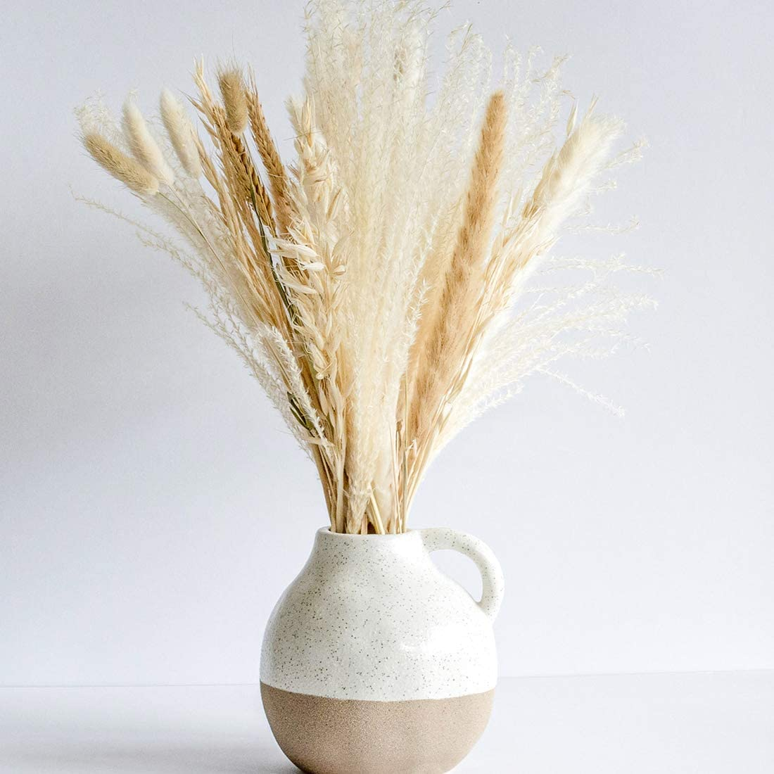South Pillar - Natural Dried Pampas Grass Bouquet for Home Decor (White and Natural)