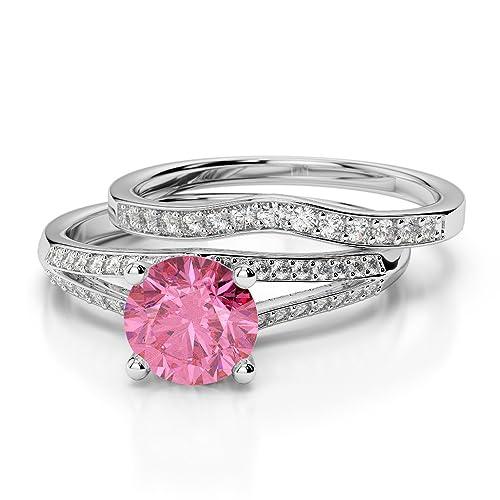 AG & Sons Mujer Platino 950 platino redonda Turmalina rosa