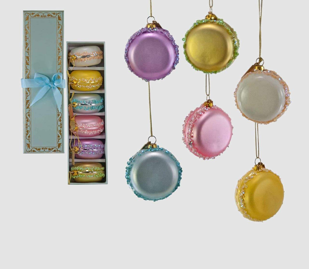 Katherine's Collection Box of 6 Sweet Christmas Macaroons Glass Christmas Ornament Set 22-822488 by Katherine's Collection