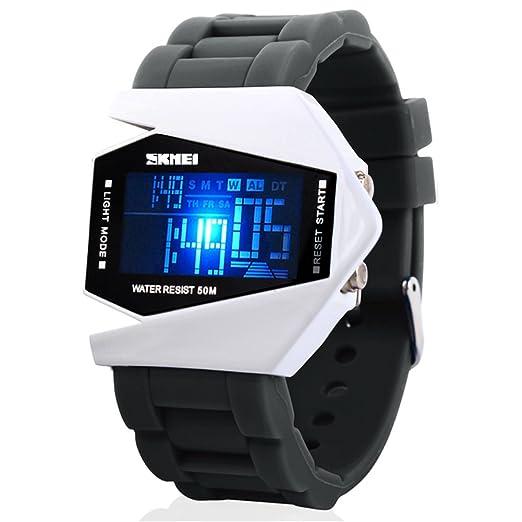SKMEI reloj impermeable de caucho para jóvenes LED del estilo del aeroplano deportes digitales,