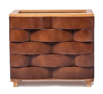 Caja joyero de madera haya Organizador para bisuterías joyas con tapa de vidrio 24 * 18.5