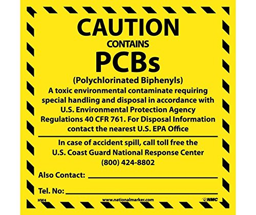 National Marker Corp. HW4ALV Caution Contains Pcb'S Hazmat Label by National Marker