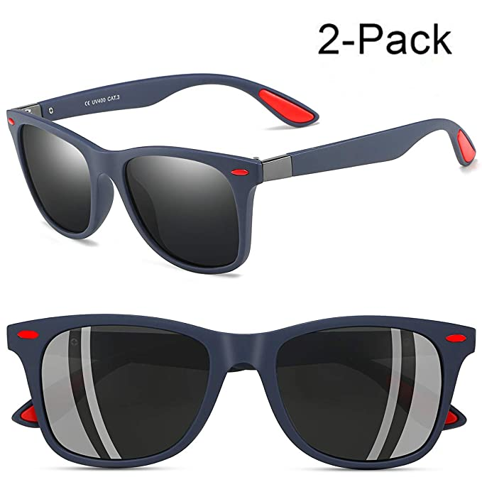 18c2a33570 Mens Wayfarer Sunglasses New Style Polarized Driving Glasses Matte Black  Frame Ultra Light(Blue Matte
