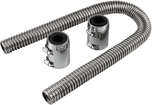 """24/"""" Flexible Stainless Steel Upper or Lower Radiator Hose Kit with Polished Caps"""