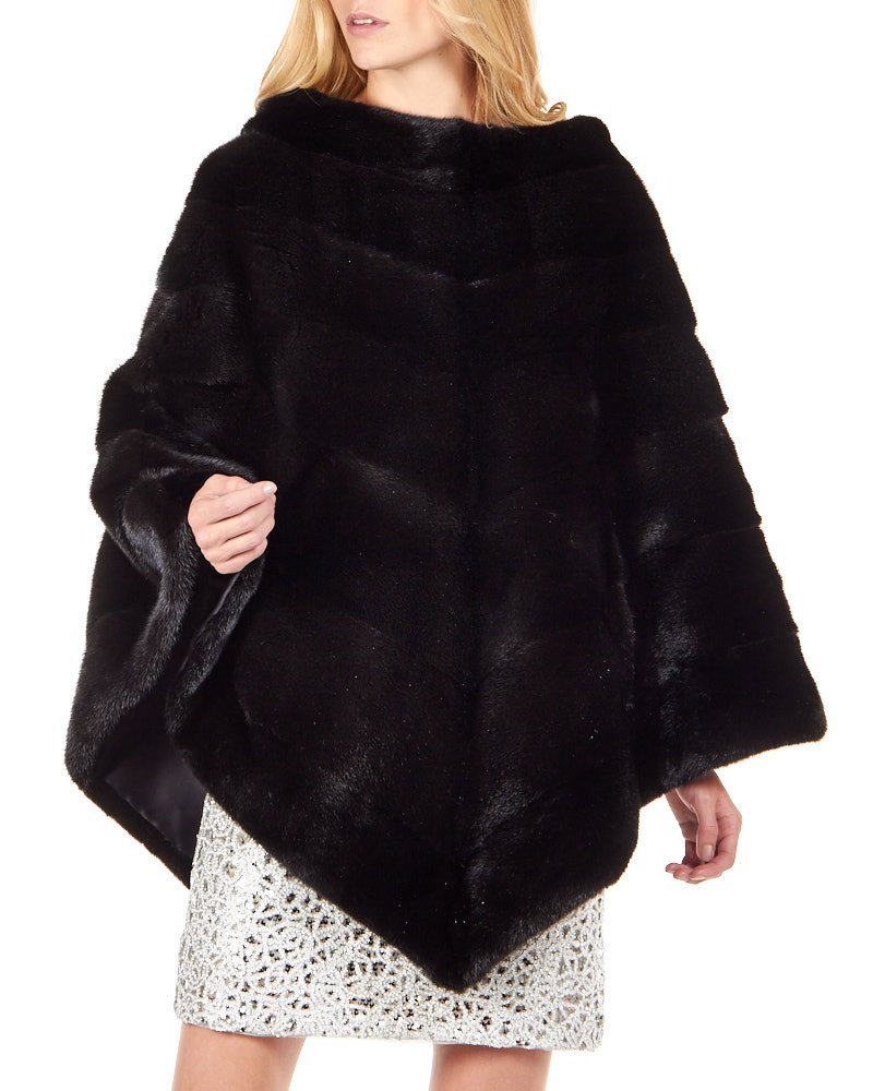 Women's Black Mink Fur Poncho