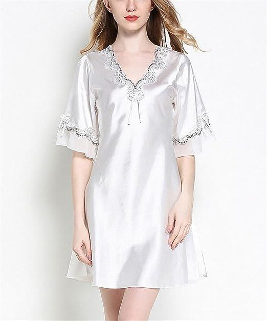 SYGoodBUY Vestido de Pijama de Manga Corta de Satén de Manga Corta para Mujer Vestido de