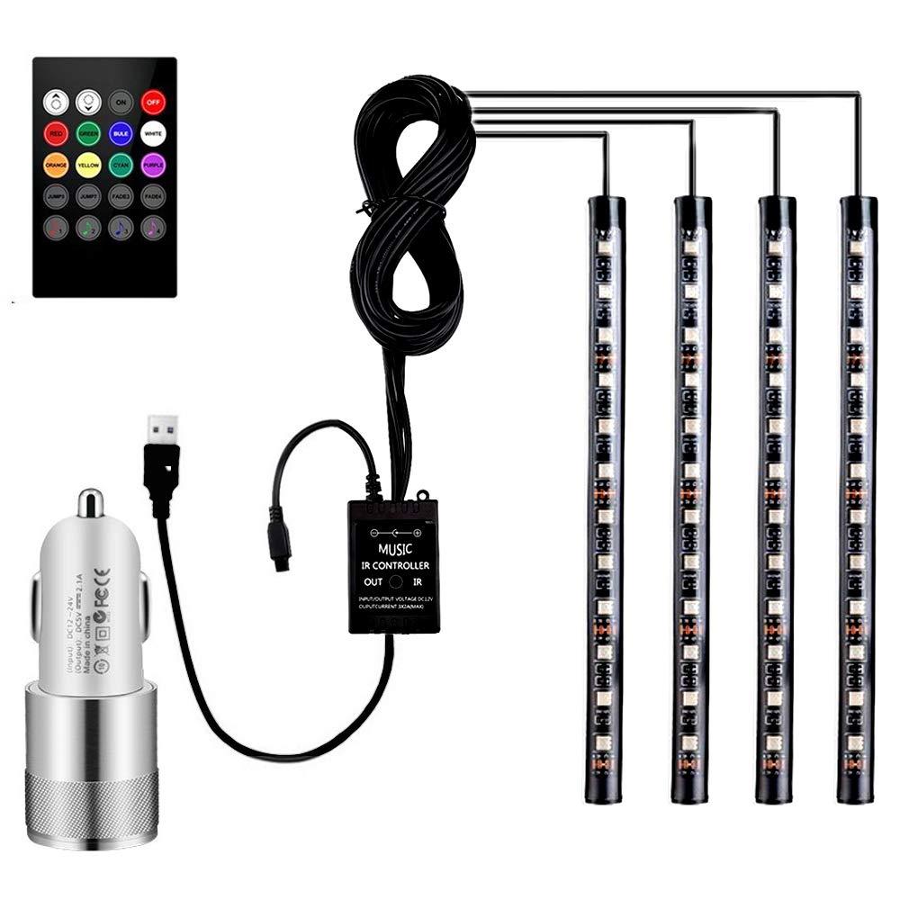 Striscia per auto luce auto LED 4 pezzi 48 LED striscia di luce illuminazione interni auto luci LED con funzione Sound Active e telecomando senza fili per interni kit set Vexverm