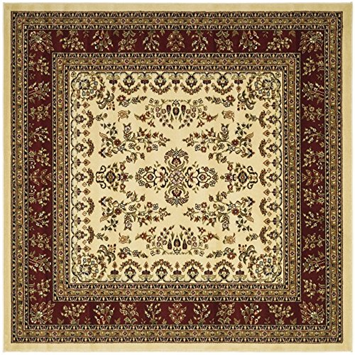Safavieh Lyndhurst Collection LNH331A Traditional Oriental Square Area Rug, 8'/Square, Ivory/Red