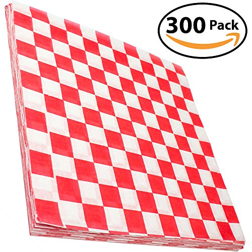Avant Grub Deli Paper 300 Sheets. Turn Your Backyard Cookout Party into a Classic Drive-In with Red & White Checkered Food Wrapping Papers. Grease-Resistant 12x12 Sandwich Wrap Prevents Food (Burger Basket)